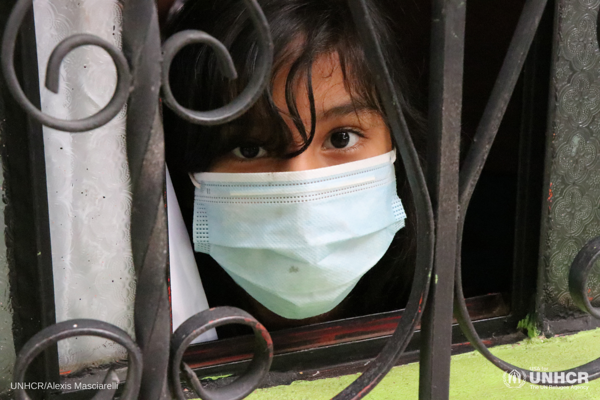 Central American girl with mask-COVId-19